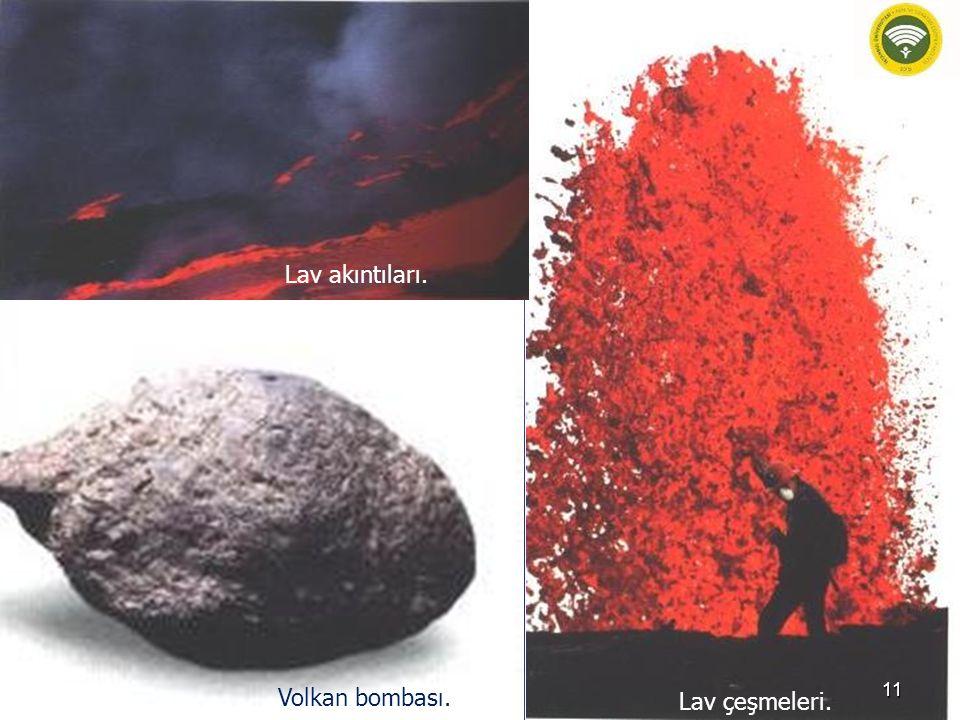 Lav akıntıları. Volkan bombası. Lav çeşmeleri.