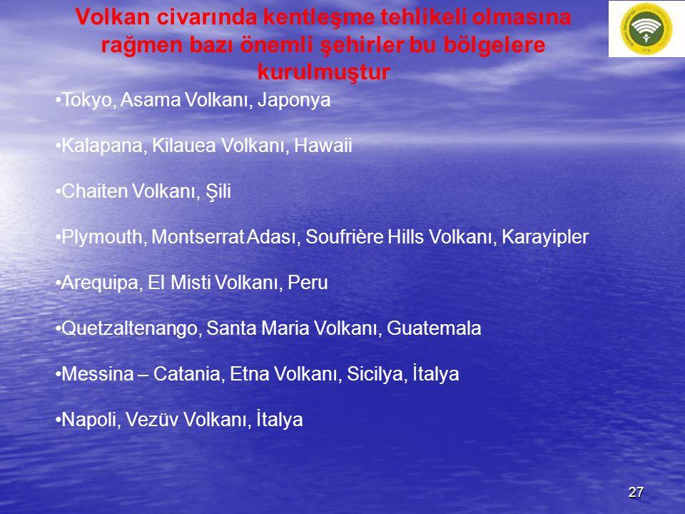 Volkan civarında kentleşme tehlikeli olmasına rağmen bazı önemli şehirler bu bölgelere kurulmuştur