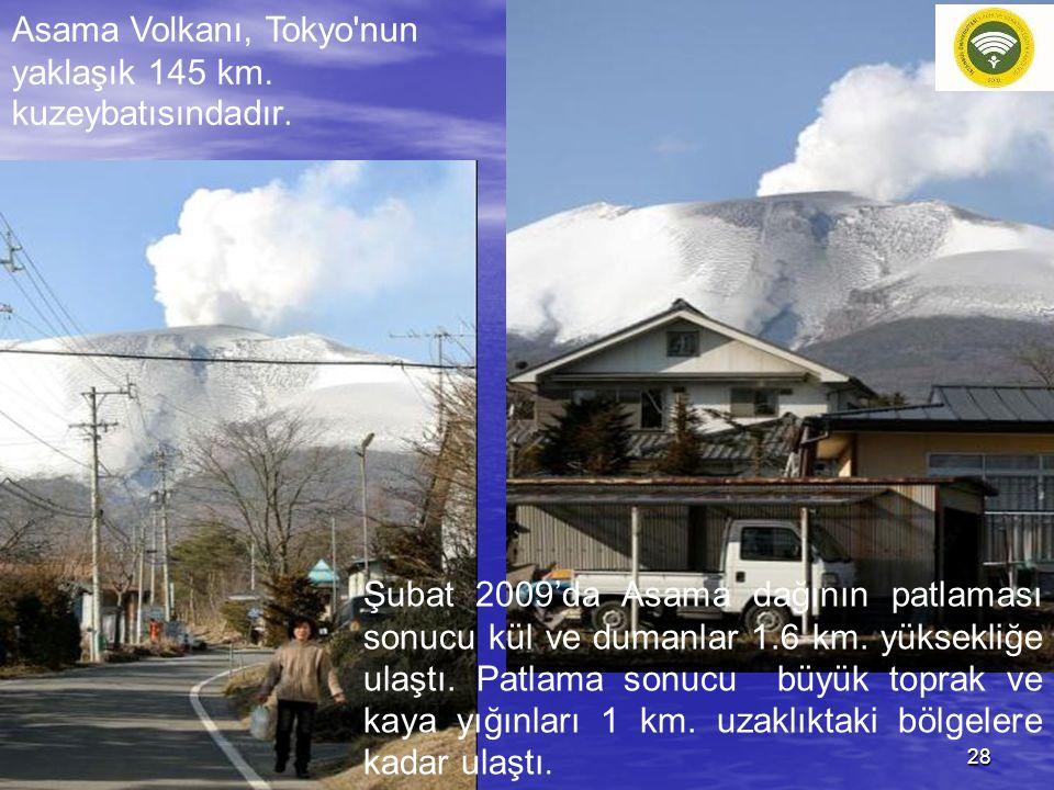 Asama Volkanı, Tokyo nun yaklaşık 145 km. kuzeybatısındadır.