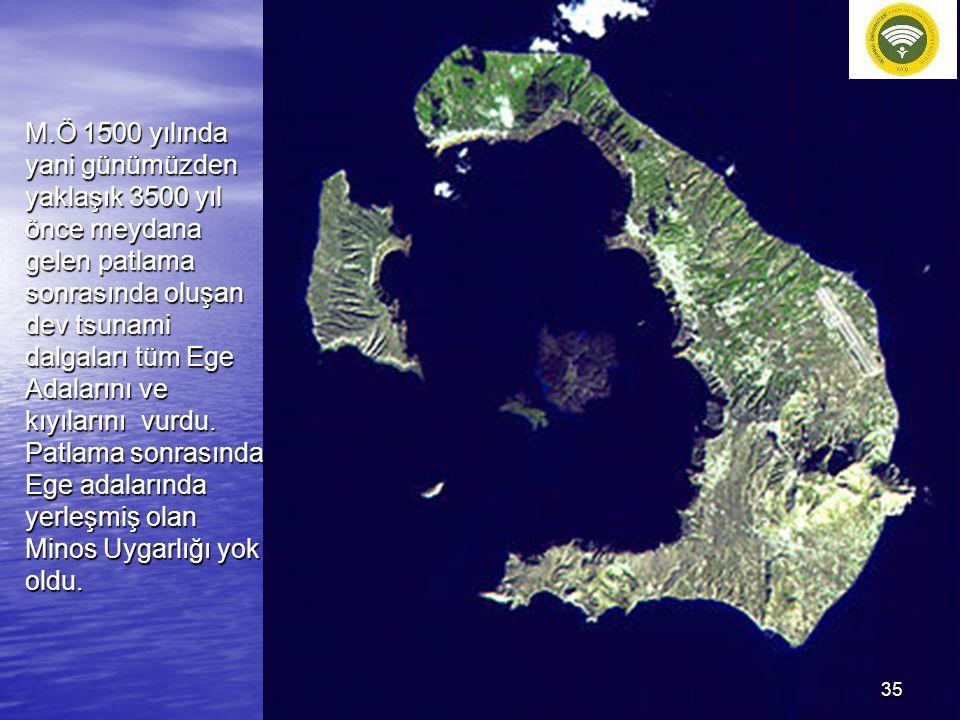 M.Ö 1500 yılında yani günümüzden yaklaşık 3500 yıl önce meydana gelen patlama sonrasında oluşan dev tsunami dalgaları tüm Ege Adalarını ve kıyılarını vurdu.