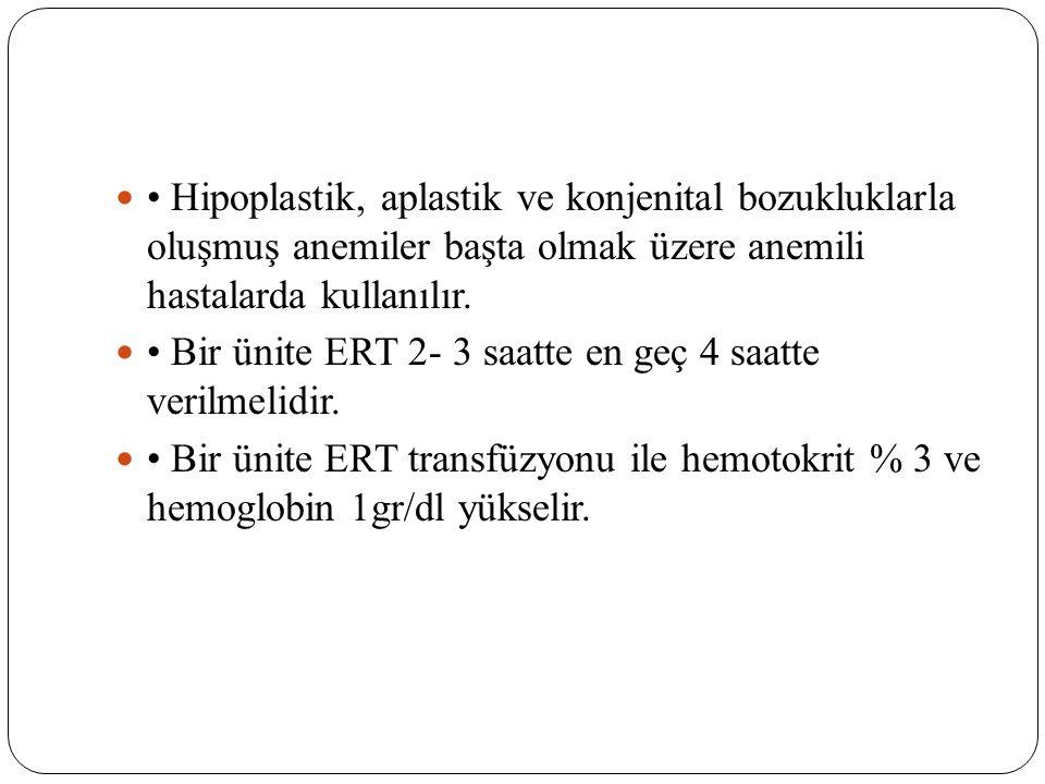 • Hipoplastik, aplastik ve konjenital bozukluklarla oluşmuş anemiler başta olmak üzere anemili hastalarda kullanılır.