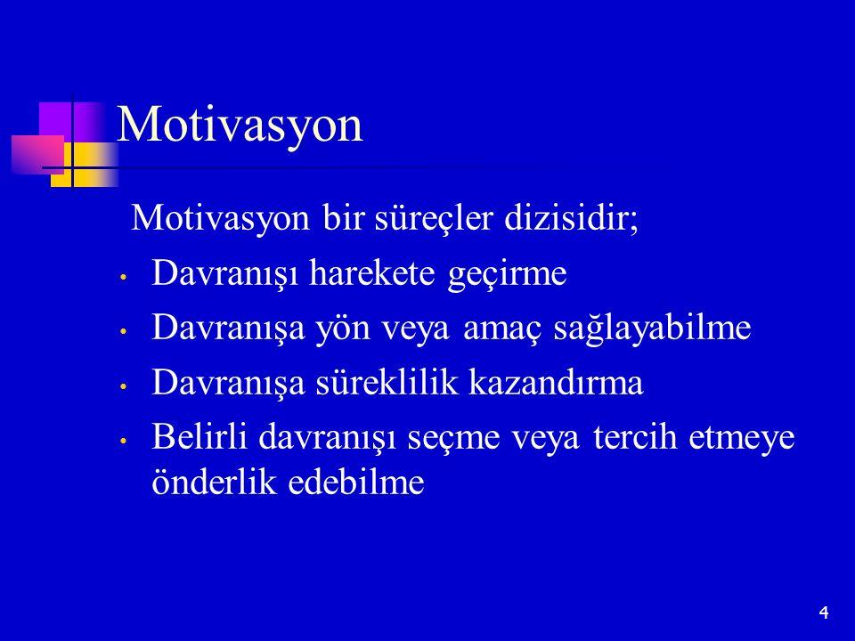 Motivasyon Motivasyon bir süreçler dizisidir;