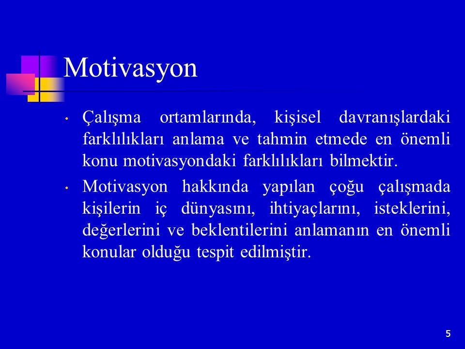 Motivasyon Çalışma ortamlarında, kişisel davranışlardaki farklılıkları anlama ve tahmin etmede en önemli konu motivasyondaki farklılıkları bilmektir.