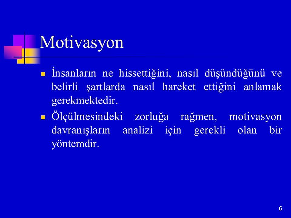 Motivasyon İnsanların ne hissettiğini, nasıl düşündüğünü ve belirli şartlarda nasıl hareket ettiğini anlamak gerekmektedir.