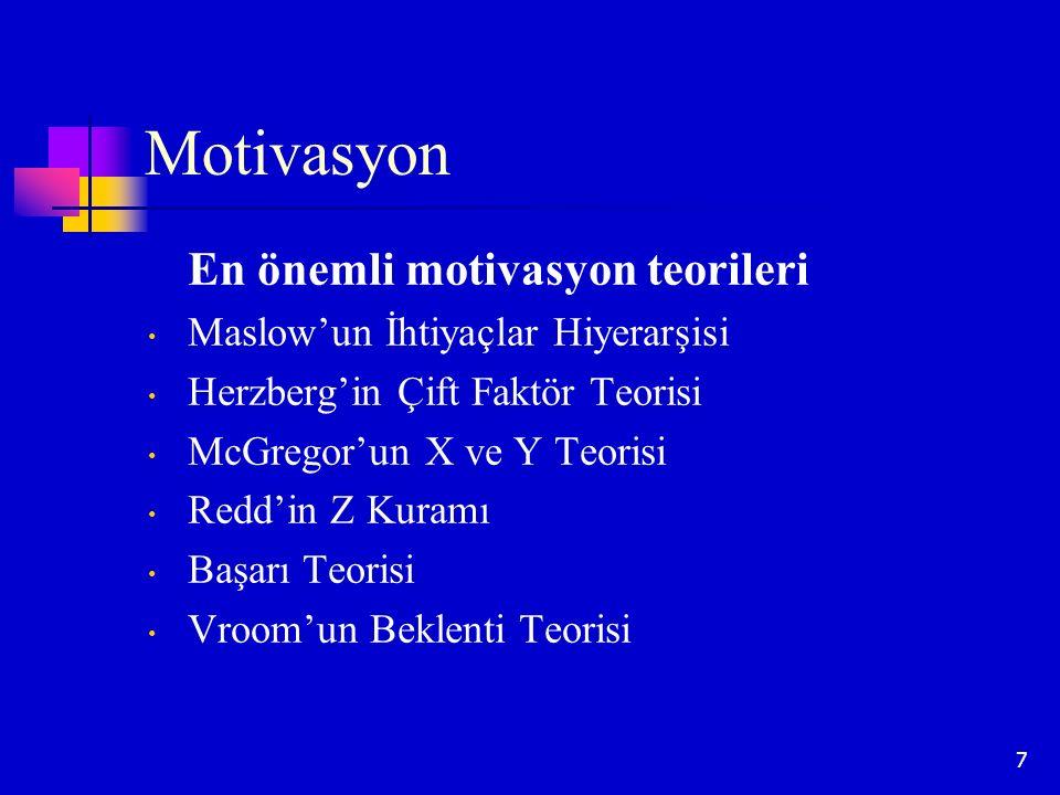 Motivasyon En önemli motivasyon teorileri