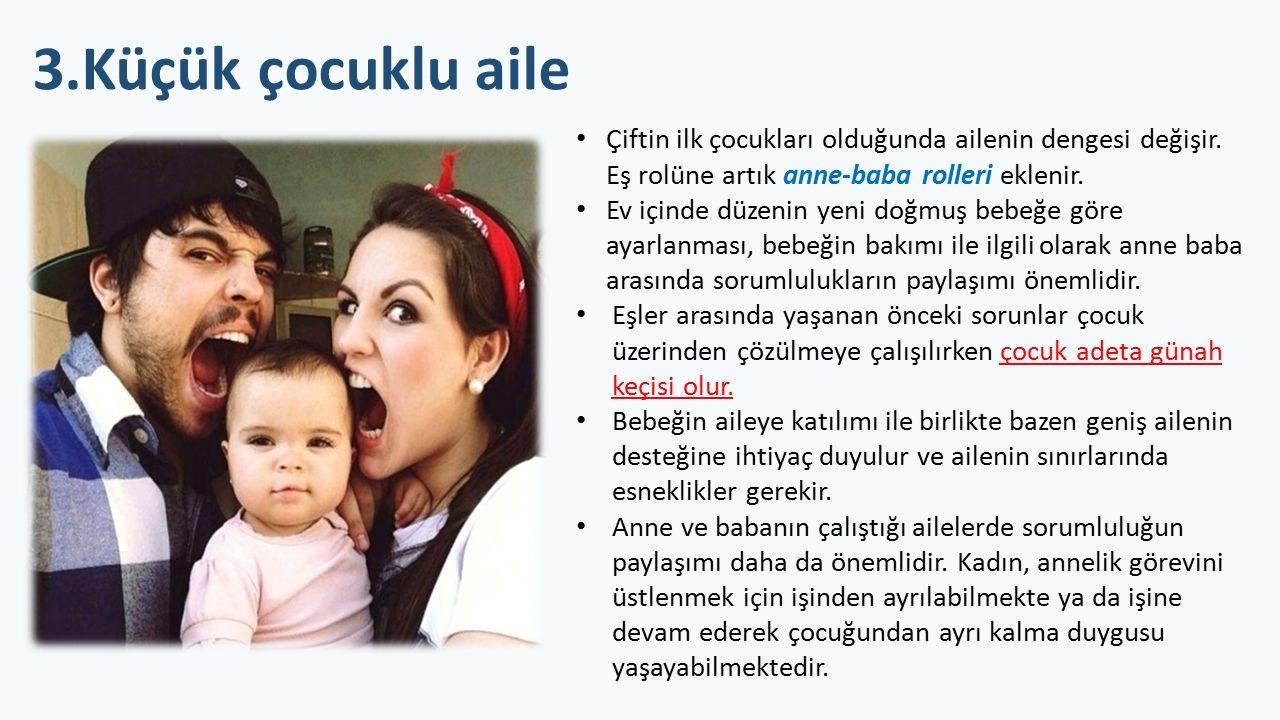 3.Küçük çocuklu aile Çiftin ilk çocukları olduğunda ailenin dengesi değişir. Eş rolüne artık anne-baba rolleri eklenir.