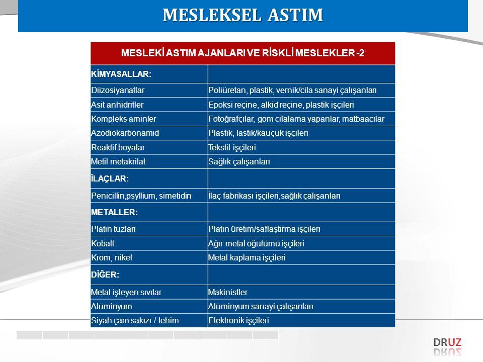 MESLEKİ ASTIM AJANLARI VE RİSKLİ MESLEKLER -2