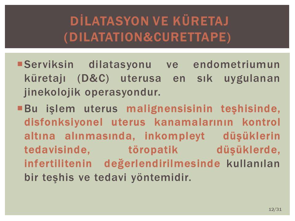 DİLATASYON ve KÜRETAJ (Dilatation&Curettape)