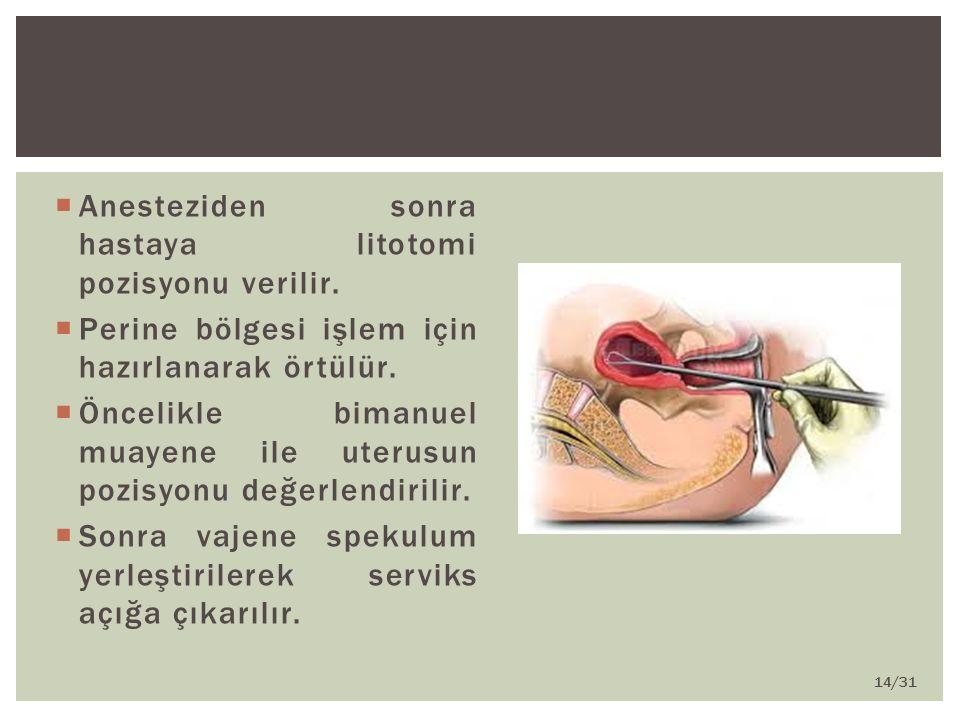 Anesteziden sonra hastaya litotomi pozisyonu verilir.
