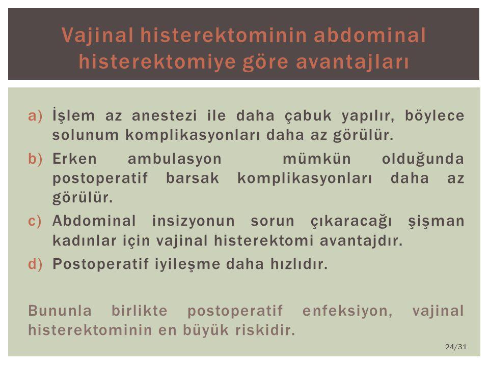 Vajinal histerektominin abdominal histerektomiye göre avantajları