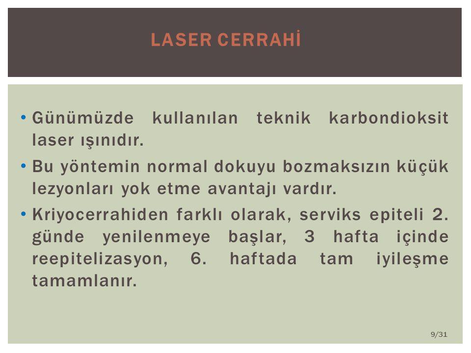 LASER CERRAHİ Günümüzde kullanılan teknik karbondioksit laser ışınıdır.