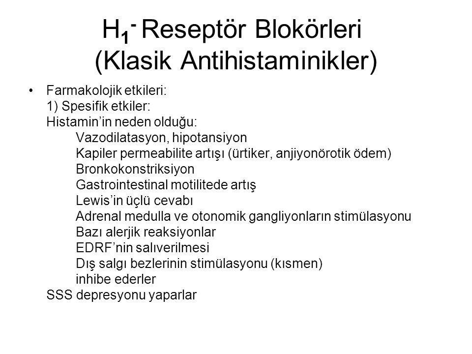 H1- Reseptör Blokörleri (Klasik Antihistaminikler)