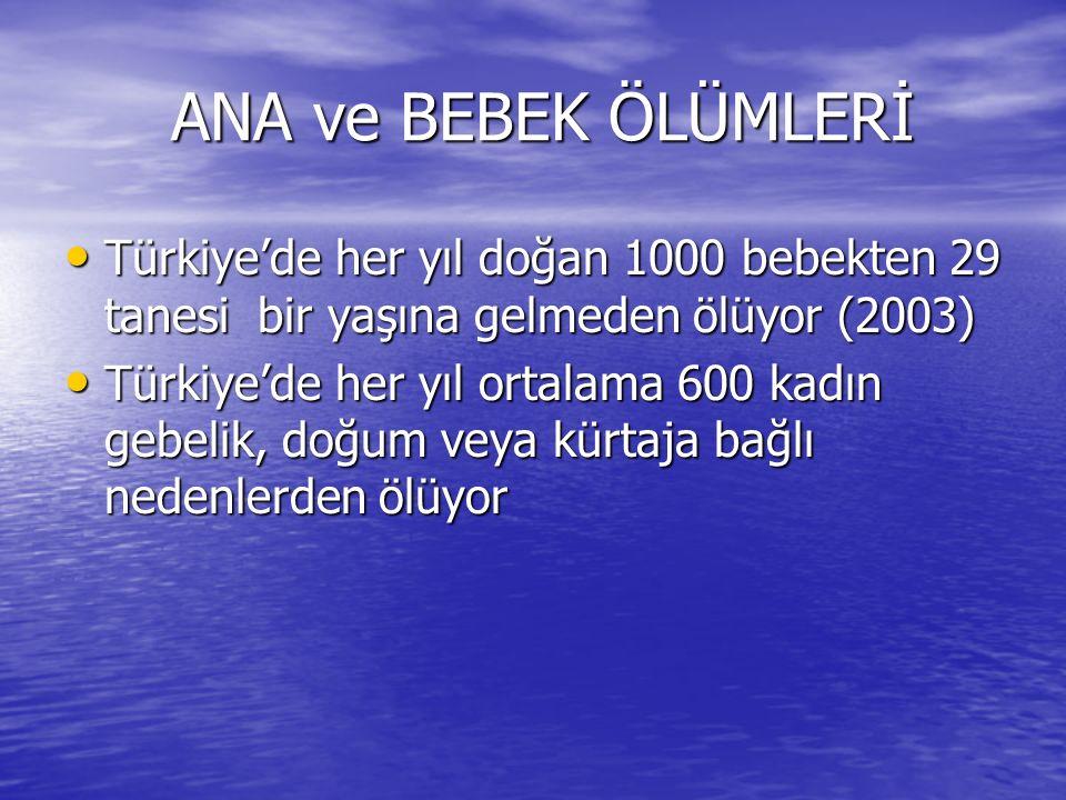 ANA ve BEBEK ÖLÜMLERİ Türkiye'de her yıl doğan 1000 bebekten 29 tanesi bir yaşına gelmeden ölüyor (2003)