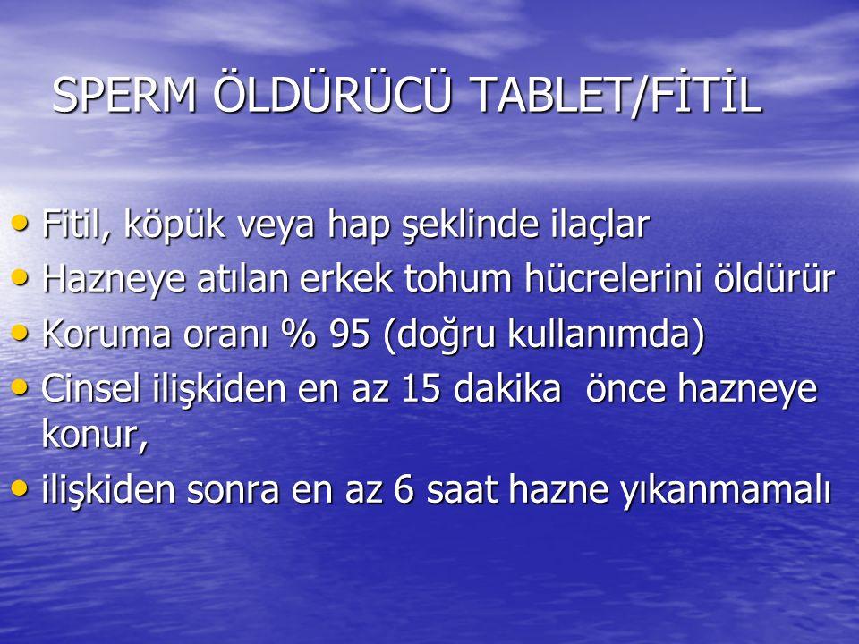 SPERM ÖLDÜRÜCÜ TABLET/FİTİL
