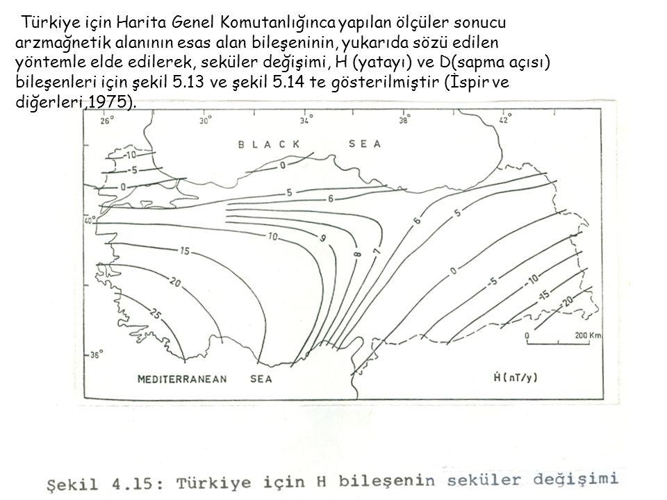 Türkiye için Harita Genel Komutanlığınca yapılan ölçüler sonucu arzmağnetik alanının esas alan bileşeninin, yukarıda sözü edilen yöntemle elde edilerek, seküler değişimi, H (yatayı) ve D(sapma açısı) bileşenleri için şekil 5.13 ve şekil 5.14 te gösterilmiştir (İspir ve diğerleri,1975).
