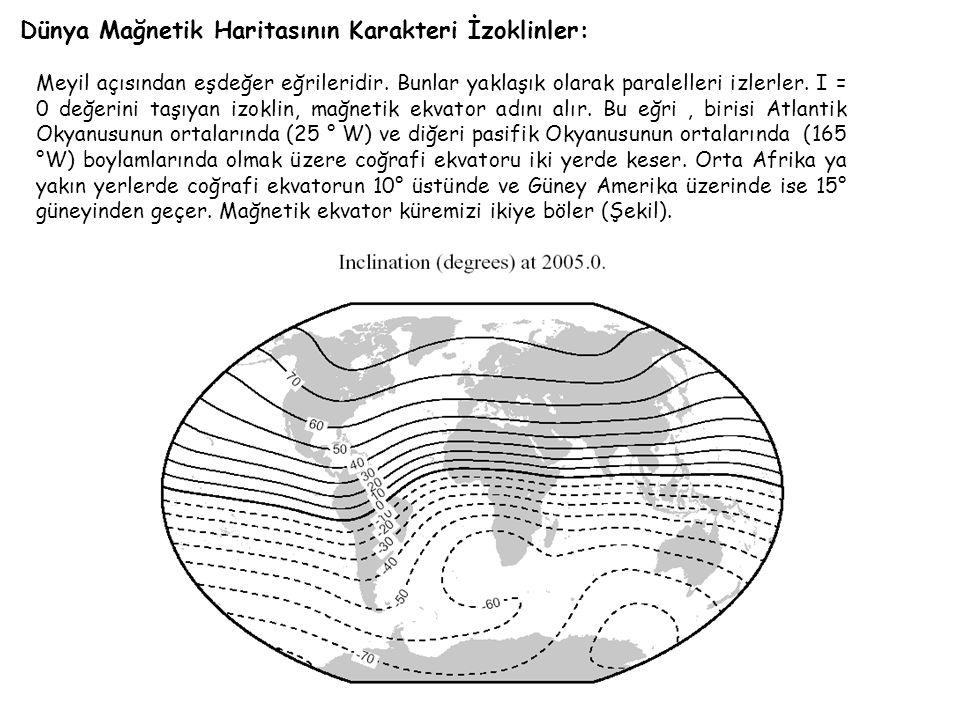 Dünya Mağnetik Haritasının Karakteri İzoklinler: