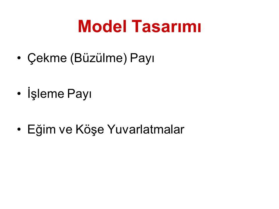 Model Tasarımı Çekme (Büzülme) Payı İşleme Payı