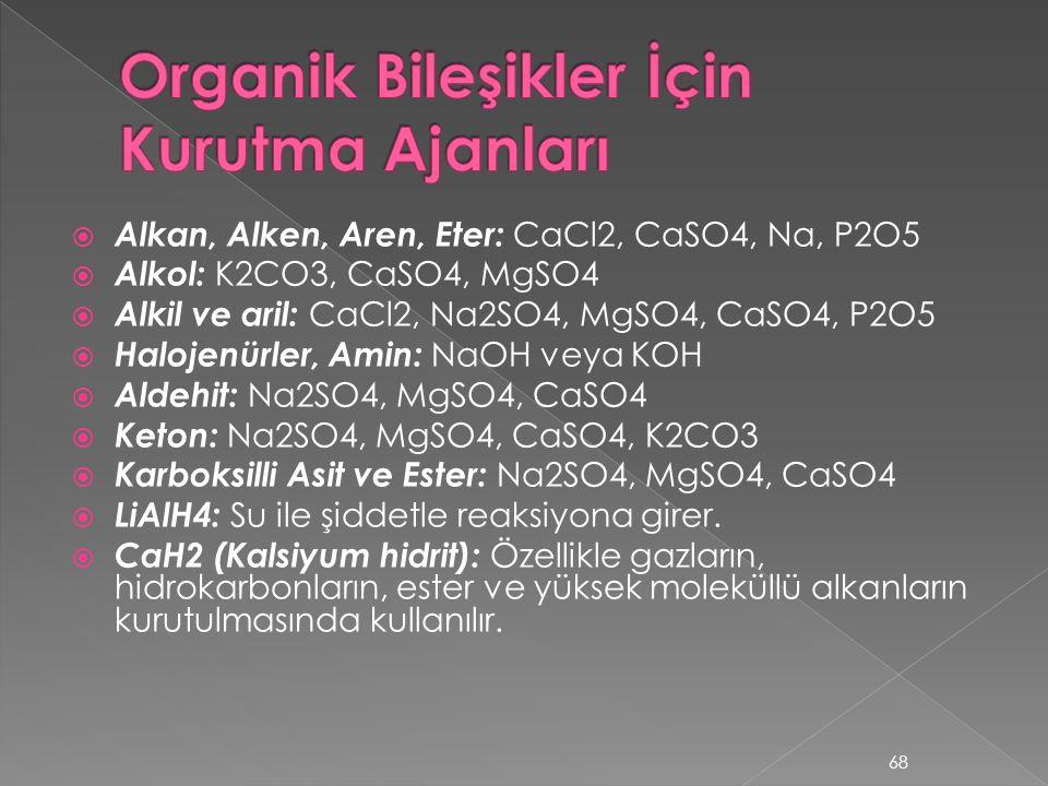 Organik Bileşikler İçin Kurutma Ajanları
