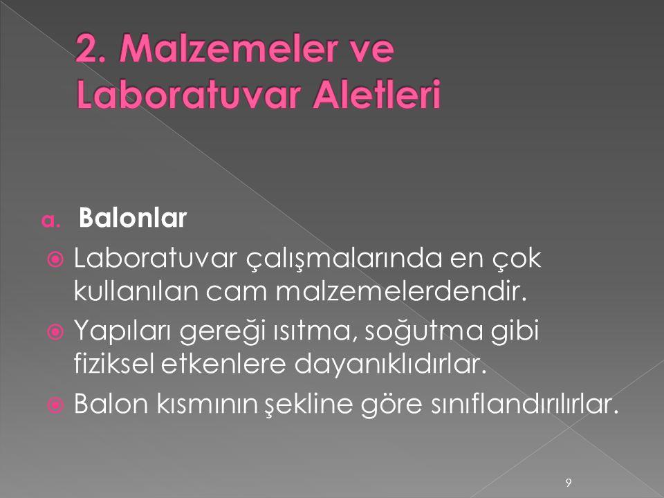 2. Malzemeler ve Laboratuvar Aletleri