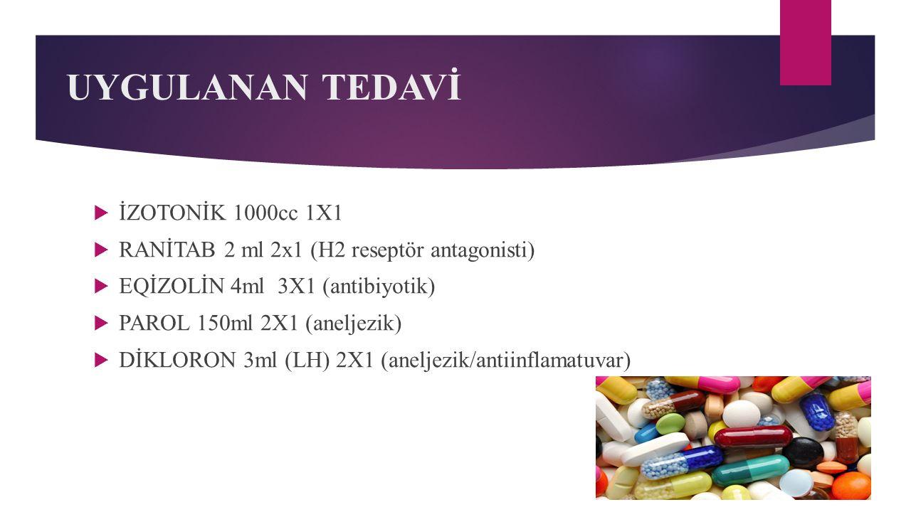 UYGULANAN TEDAVİ İZOTONİK 1000cc 1X1
