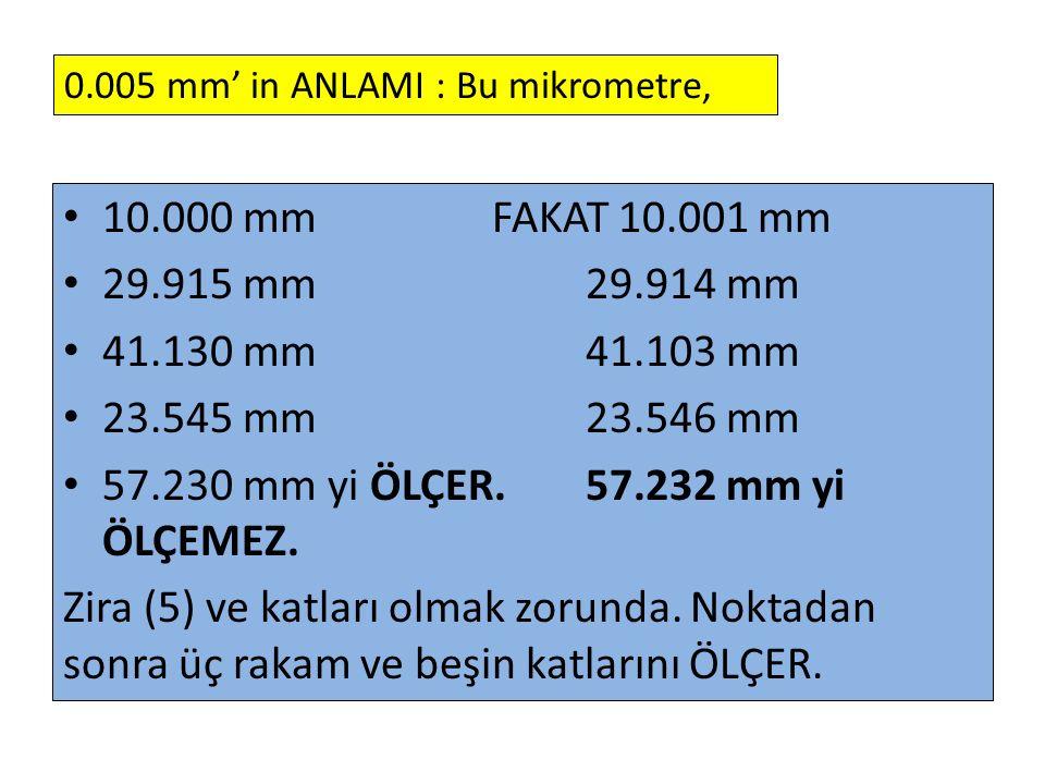 57.230 mm yi ÖLÇER. 57.232 mm yi ÖLÇEMEZ.