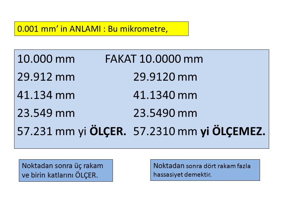 0.001 mm' in ANLAMI : Bu mikrometre,