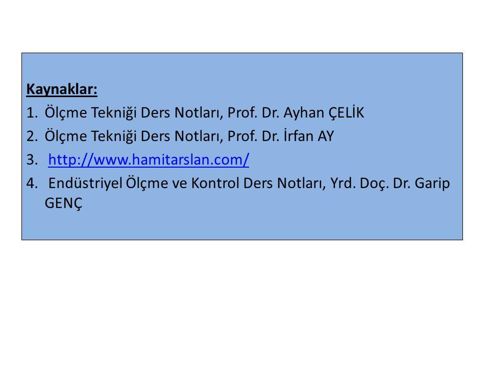 Kaynaklar: Ölçme Tekniği Ders Notları, Prof. Dr. Ayhan ÇELİK. Ölçme Tekniği Ders Notları, Prof. Dr. İrfan AY.