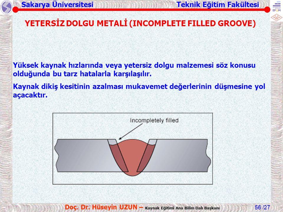 YETERSİZ DOLGU METALİ (INCOMPLETE FILLED GROOVE)