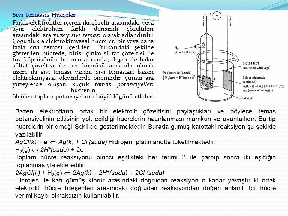 Sıvı Temassız Hücreler Farklı elektrolitler içeren iki,çözelti arasındaki veya aynı elektrolitin farklı derişimli çözeltileri arasındaki ara yüzey sıvı teması olarak adlandırılır. Çoğunlukla elektrokimyasal hücreler, bir veya daha fazla sıvı teması içerirler. Yukarıdaki şekilde gösterilen hücrede, birisi çinko sülfat çözeltisi ile tuz köprüsünün bir ucu arasında, diğeri de bakır sülfat çözeltisi ile tuz köprüsü arasında olmak üzere iki sıvı teması vardır. Sıvı temasları bazen elektrokimyasal ölçümlerde önemlidir, çünkü ara yüzeylerde oluşan küçük temas potansiyelleri hücrenin ölçülen toplam potansiyelinin büyüklüğünü etkiler.