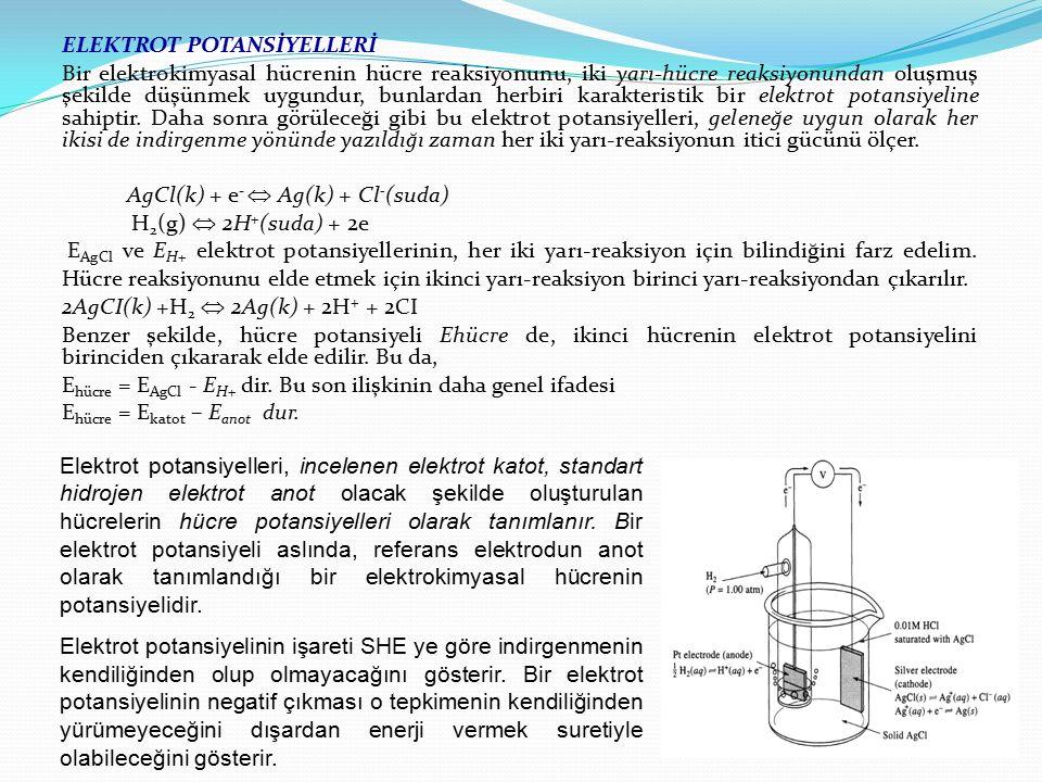 ELEKTROT POTANSİYELLERİ Bir elektrokimyasal hücrenin hücre reaksiyonunu, iki yarı-hücre reaksiyonundan oluşmuş şekilde düşünmek uygundur, bunlardan herbiri karakteristik bir elektrot potansiyeline sahiptir. Daha sonra görüleceği gibi bu elektrot potansiyelleri, geleneğe uygun olarak her ikisi de indirgenme yönünde yazıldığı zaman her iki yarı-reaksiyonun itici gücünü ölçer. AgCl(k) + e-  Ag(k) + Cl-(suda) H2(g)  2H+(suda) + 2e EAgCl ve EH+ elektrot potansiyellerinin, her iki yarı-reaksiyon için bilindiğini farz edelim. Hücre reaksiyonunu elde etmek için ikinci yarı-reaksiyon birinci yarı-reaksiyondan çıkarılır. 2AgCI(k) +H2  2Ag(k) + 2H+ + 2CI Benzer şekilde, hücre potansiyeli Ehücre de, ikinci hücrenin elektrot potansiyelini birinciden çıkararak elde edilir. Bu da, Ehücre = EAgCl - EH+ dir. Bu son ilişkinin daha genel ifadesi Ehücre = Ekatot – Eanot dur.