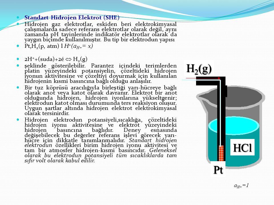 H2(g) HCl Pt Standart Hidrojen Elektrot (SHE)