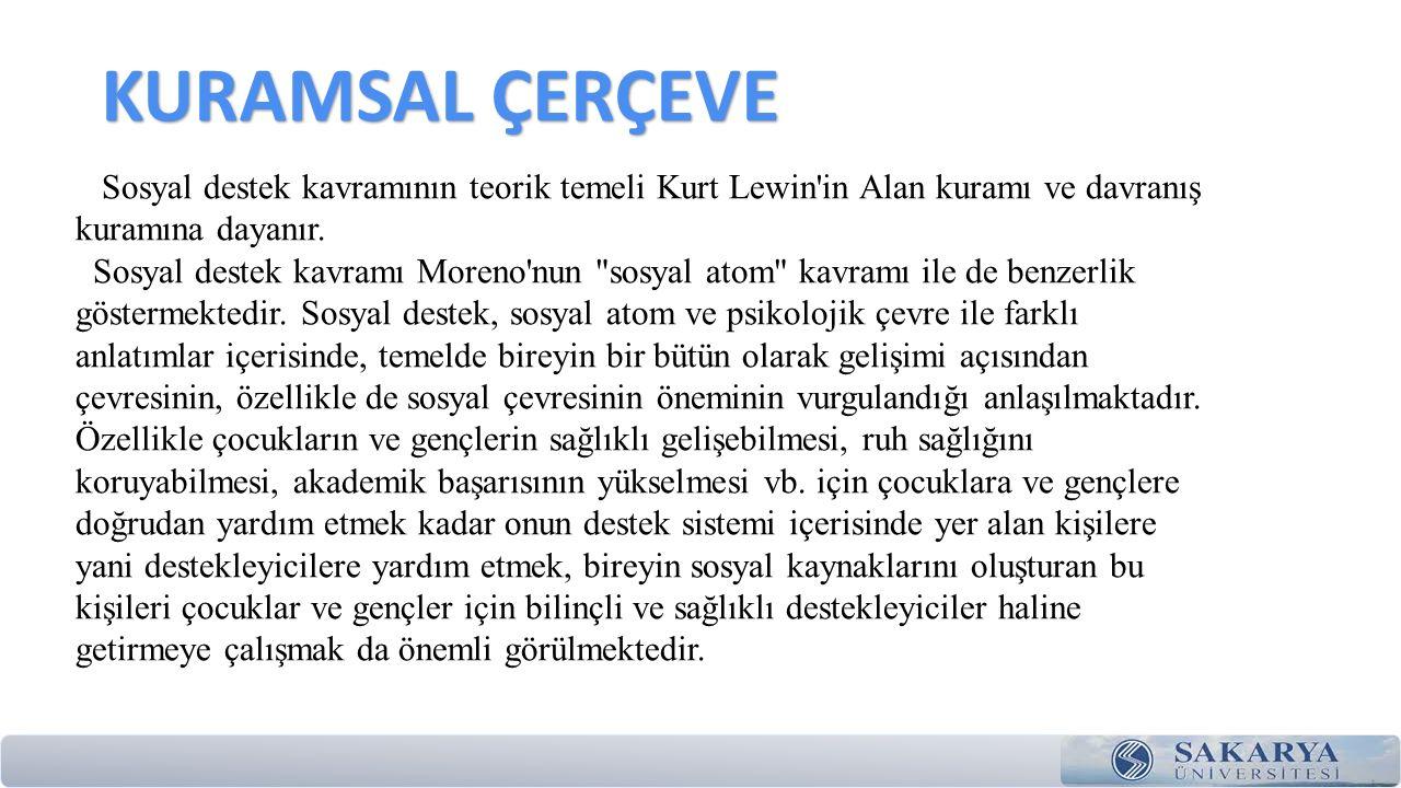 KURAMSAL ÇERÇEVE Sosyal destek kavramının teorik temeli Kurt Lewin in Alan kuramı ve davranış kuramına dayanır.