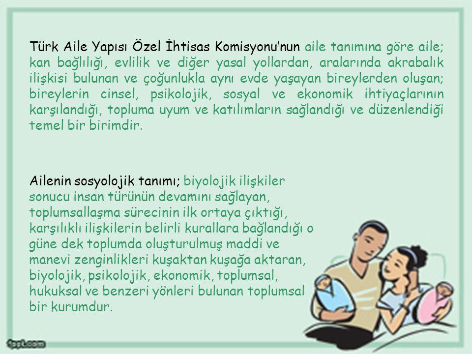 Türk Aile Yapısı Özel İhtisas Komisyonu'nun aile tanımına göre aile; kan bağlılığı, evlilik ve diğer yasal yollardan, aralarında akrabalık ilişkisi bulunan ve çoğunlukla aynı evde yaşayan bireylerden oluşan; bireylerin cinsel, psikolojik, sosyal ve ekonomik ihtiyaçlarının karşılandığı, topluma uyum ve katılımların sağlandığı ve düzenlendiği temel bir birimdir.