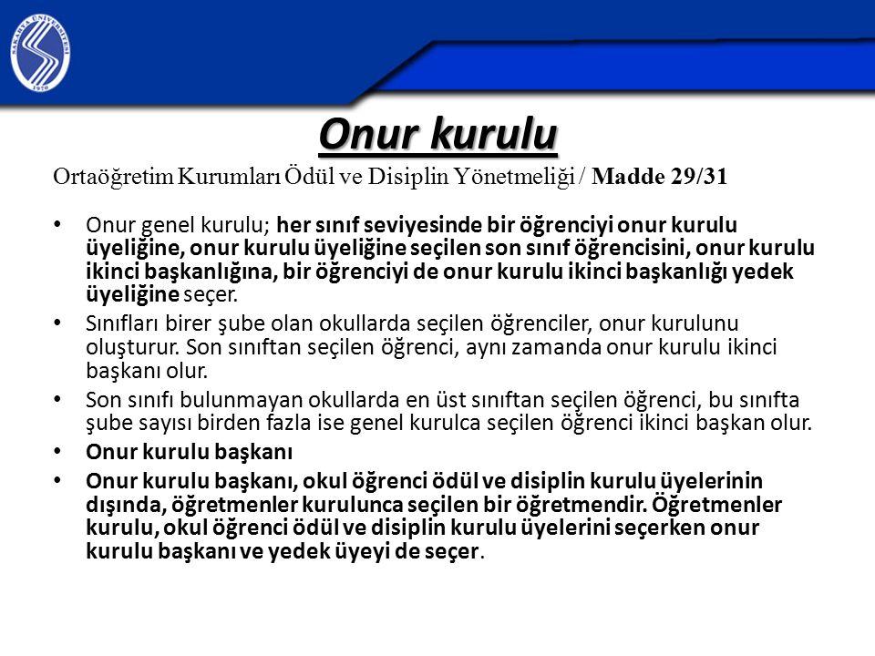 Onur kurulu Ortaöğretim Kurumları Ödül ve Disiplin Yönetmeliği / Madde 29/31.