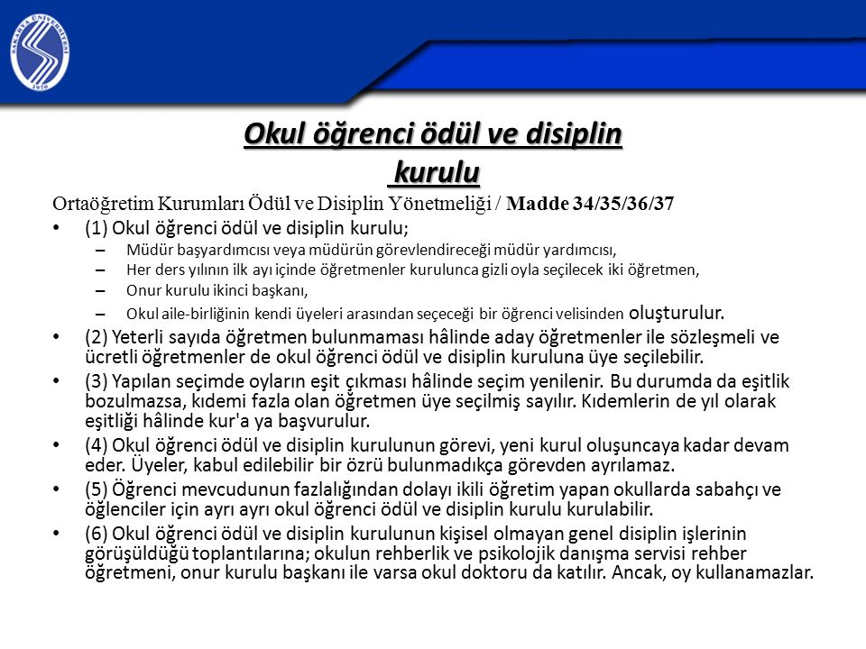 Okul öğrenci ödül ve disiplin