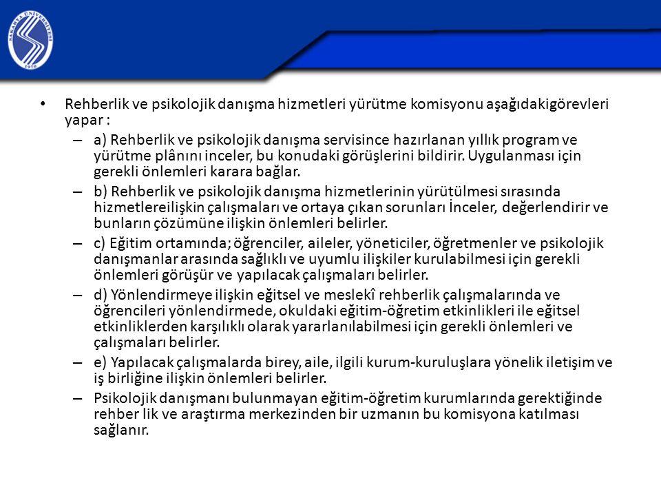 Rehberlik ve psikolojik danışma hizmetleri yürütme komisyonu aşağıdakigörevleri yapar :