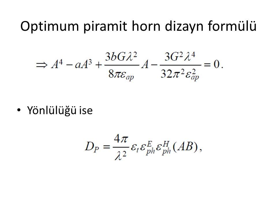 Optimum piramit horn dizayn formülü