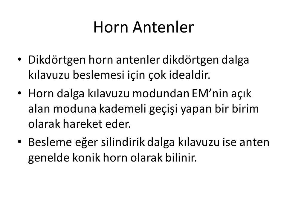 Horn Antenler Dikdörtgen horn antenler dikdörtgen dalga kılavuzu beslemesi için çok idealdir.