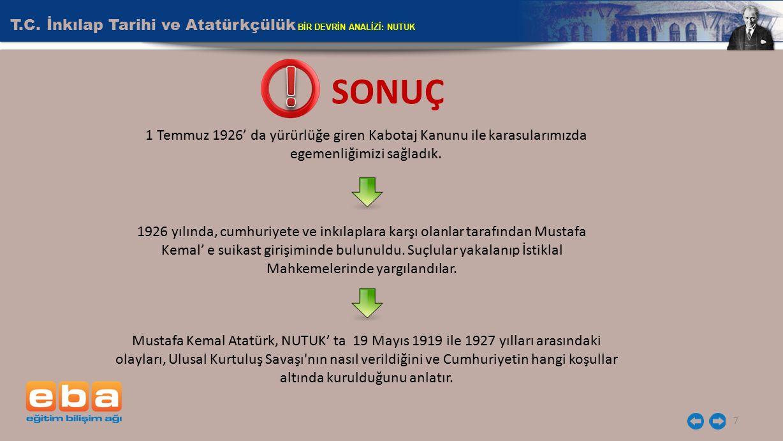 ! SONUÇ T.C. İnkılap Tarihi ve Atatürkçülük BİR DEVRİN ANALİZİ: NUTUK