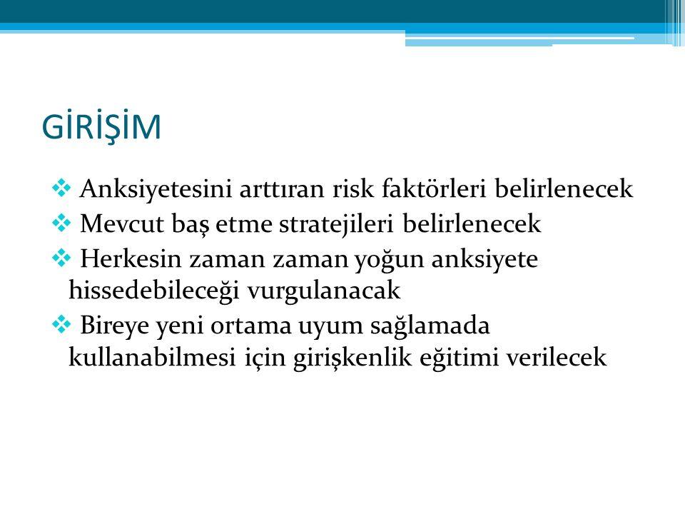 GİRİŞİM Anksiyetesini arttıran risk faktörleri belirlenecek