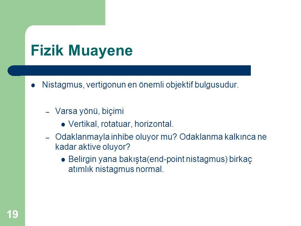 Fizik Muayene Nistagmus, vertigonun en önemli objektif bulgusudur.