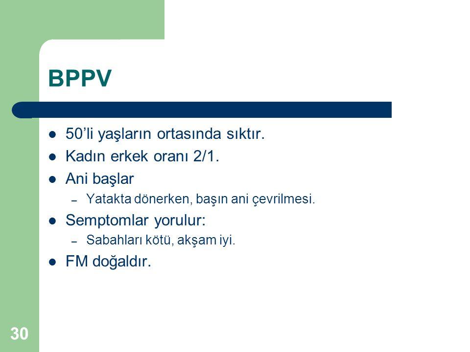 BPPV 50'li yaşların ortasında sıktır. Kadın erkek oranı 2/1.