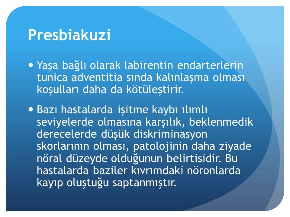 Presbiakuzi Yaşa bağlı olarak labirentin endarterlerin tunica adventitia sında kalınlaşma olması koşulları daha da kötüleştirir.