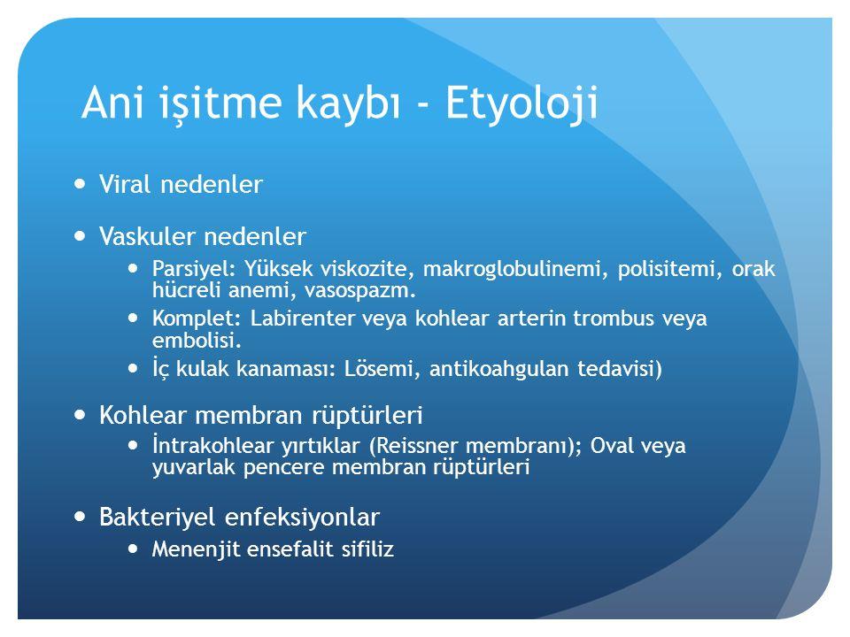 Ani işitme kaybı - Etyoloji