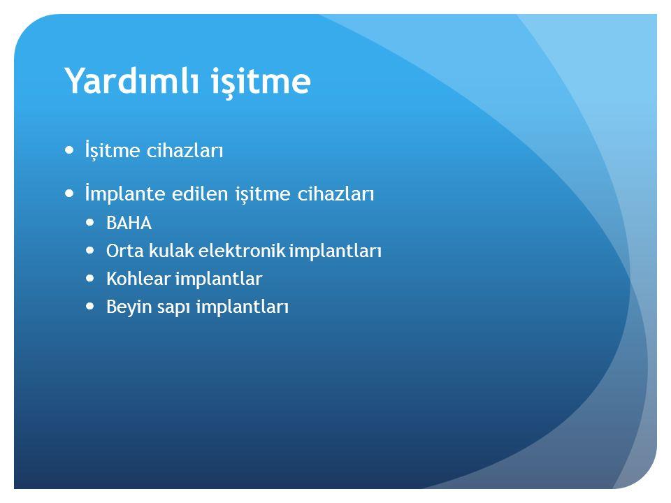 Yardımlı işitme İşitme cihazları İmplante edilen işitme cihazları BAHA