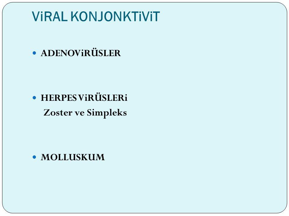 ViRAL KONJONKTiViT ADENOViRÜSLER HERPES ViRÜSLERi Zoster ve Simpleks