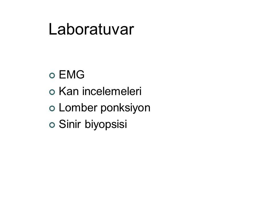 Laboratuvar EMG Kan incelemeleri Lomber ponksiyon Sinir biyopsisi