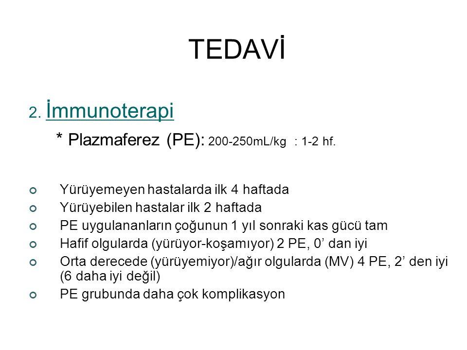 TEDAVİ * Plazmaferez (PE): 200-250mL/kg : 1-2 hf. 2. İmmunoterapi
