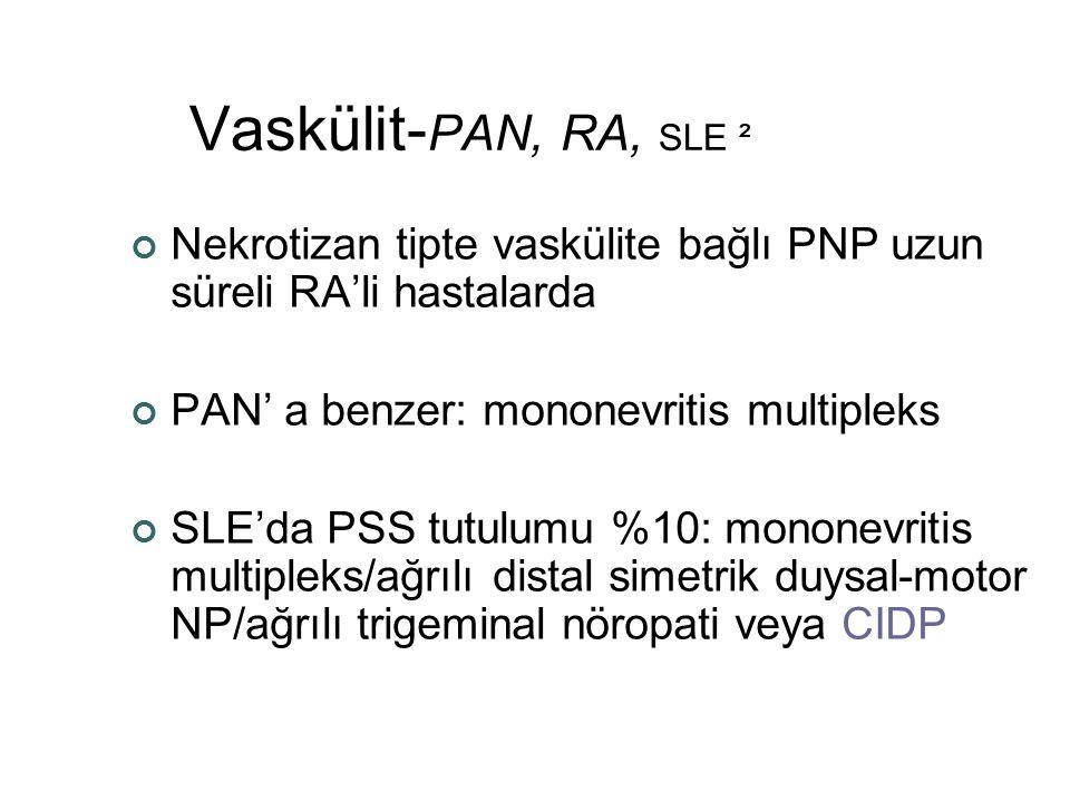 Vaskülit-PAN, RA, SLE ² Nekrotizan tipte vaskülite bağlı PNP uzun süreli RA'li hastalarda. PAN' a benzer: mononevritis multipleks.