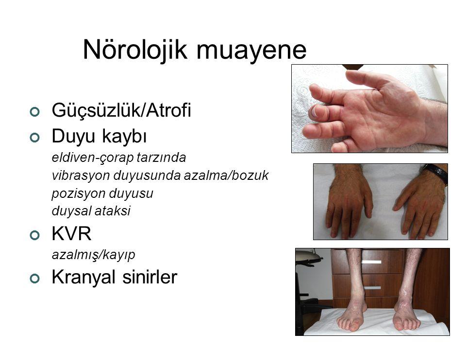 Nörolojik muayene Güçsüzlük/Atrofi Duyu kaybı KVR Kranyal sinirler